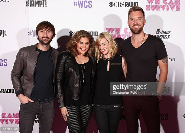 Singer/songwriter Dave Haywood singer Hillary Scott actress Beth Behrs and singer Charles Kelley pose backstage during CBS Radio's We Can Survive at...