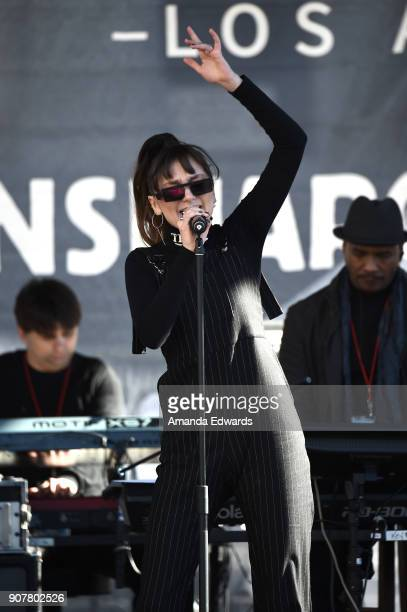 Singer/songwriter Daya performs onstage at 2018 Women's March Los Angeles at Pershing Square on January 20 2018 in Los Angeles California