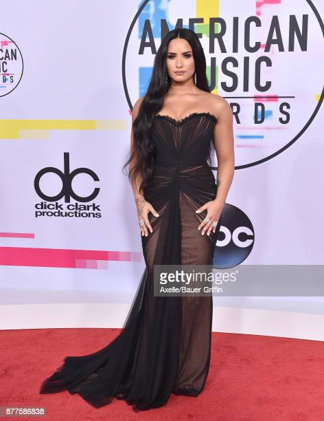 Singer/songwriter Demi Lovato arrives at the 2017 American Music Awards at Microsoft Theater on November 19 2017 in Los Angeles California