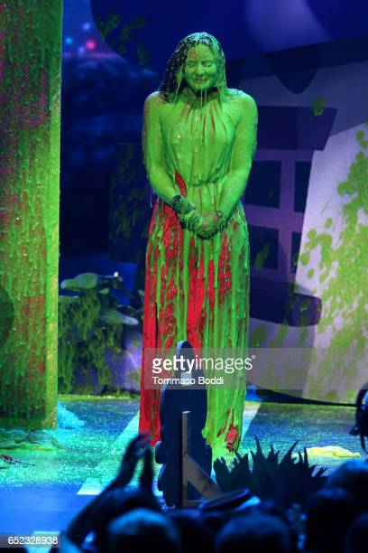 Singer-songwriter Demi Lovato gets slimed onstage at the Nickelodeon's 2017 Kids' Choice Awards at USC Galen Center on March 11, 2017 in Los Angeles,...
