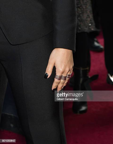 Singer-songwriter Demi Lovato, jewelry detail, attends Billboard's 10th Annual Women In Music at Cipriani 42nd Street on December 11, 2015 in New...