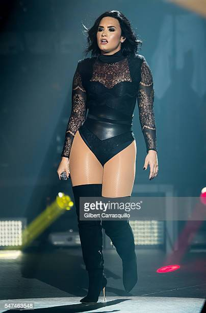 Singersongwriter Demi Lovato performs on stage during the 2016 Honda Civic Tour Future Now at BBT Pavilion on July 14 2016 in Camden New Jersey