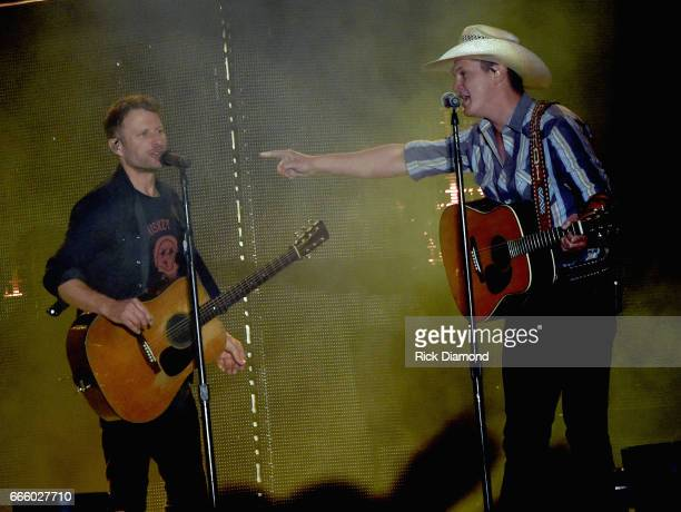 Singer/Songwriter Dierks Bentley is joined onstage by Jon Pardi during Day 2 Country Thunder Music Festival Arizona on April 7 2017 in Florence...