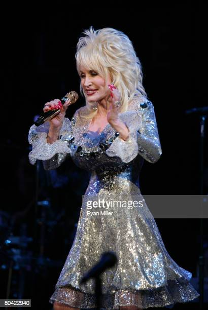 "Singer/Songwriter Dolly Parton performs during the CTG/Ahmanson Theatre Preview of ""9 to 5: The Musical"" held at the House of Blues on March 28, 2008..."
