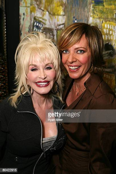 "Singer/Songwriter Dolly Parton with Cast member actress Allison Janney during the CTG/Ahmanson Theatre Preview of ""9 to 5: The Musical"" held at the..."