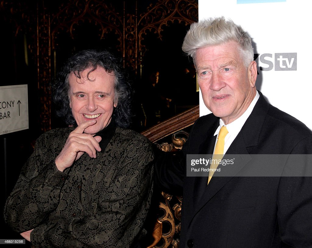 Singer/songwriter Donovan and director David Lynch arriving at The Music of David Lynch Benefiting the 10th anniversary of The David Lynch Foundation at The Ace Hotel Theater on April 1, 2015 in Los Angeles, California.