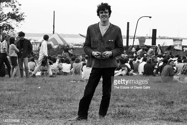 Singer/songwriter Donovan backstage before making his US debut at the Newport Folk Festival in July 1965 in Newport Rhode Island