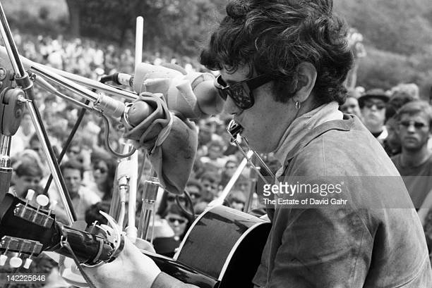 Singer/songwriter Donovan making his US debut performs at the Newport Folk Festival in July 1965 in Newport Rhode Island