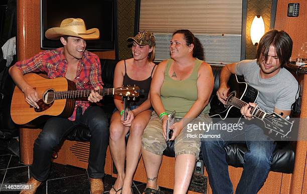 Singer/Songwriter Dustin Lynch and band mate Tony Pierce play private concert for Sarah Cohen and Tracy Lowery at the 2012 BamaJam Music and Arts...