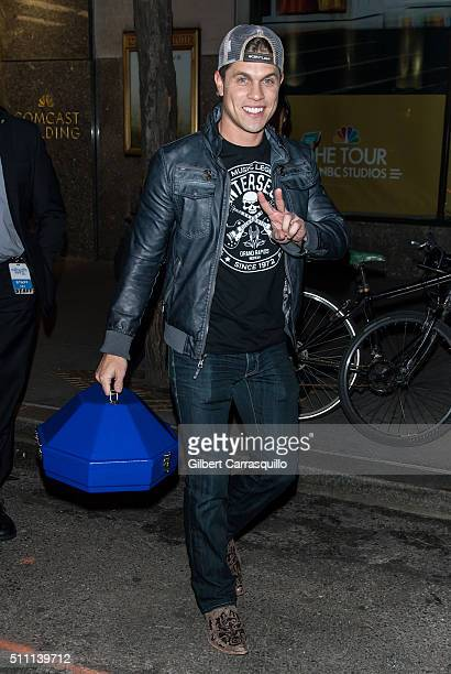 Singersongwriter Dustin Lynch is seen outside NBC Studios at Rockefeller Center on February 17 2016 in New York City