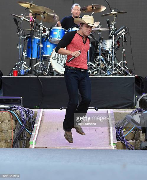 Singer/Songwriter Dustin Lynch performs at Country Thunder Day 4 In Twin Lakes Wisconsin on July 26 2015 in Twin Lakes Wisconsin