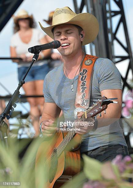 Singer/Songwriter Dustin Lynch performs at Country Thunder Twin Lakes Wisconsin Day 2 on July 19 2013 in Twin Lakes Wisconsin