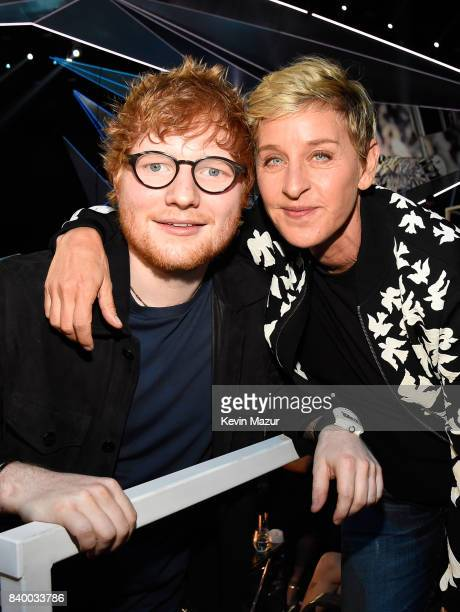 Singer/songwriter Ed Sheeran and Ellen DeGeneres attend the 2017 MTV Video Music Awards at The Forum on August 27 2017 in Inglewood California