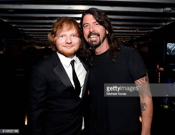 Singersongwriter Ed Sheeran and Musician Dave Grohl attend The 58th GRAMMY Awards at Staples Center on February 15 2016 in Los Angeles California