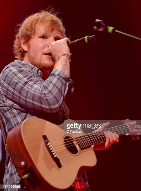 Singersongwriter Ed Sheeran performs during his X tour at the SAP Center on August 26 2014 in San Jose California