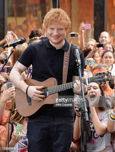 Singer/songwriter Ed Sheeran performs on NBC's 'Today' at the NBC's TODAY Show on July 12 2013 in New York New York