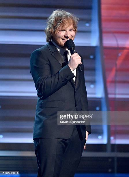 Singersongwriter Ed Sheeran speaks onstage during The 58th GRAMMY Awards at Staples Center on February 15 2016 in Los Angeles California