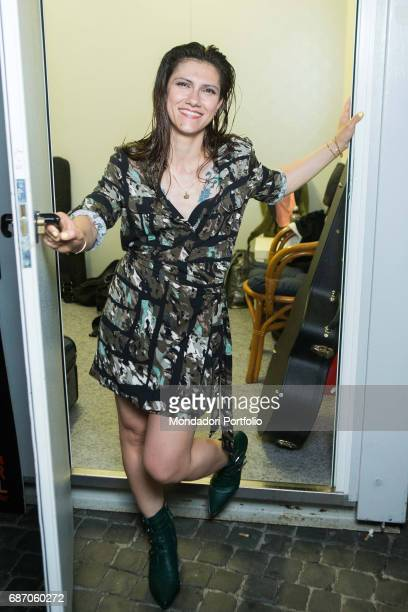 Singersongwriter Elisa opening the door of her dressing room during thel CocaCola Summer Festival Rome Italy 23rd June 2016