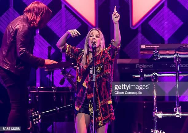 Singersongwriter Ellie Goulding performs on stage during Q102's Jingle Ball 2016 at Wells Fargo Center on December 7 2016 in Philadelphia Pennsylvania