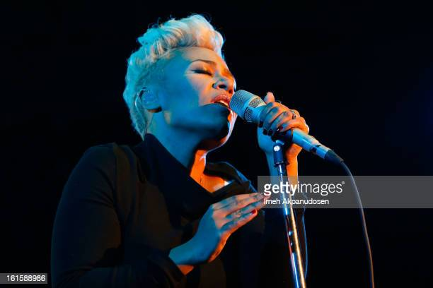 Singer/songwriter Emeli Sande performs onstage during a 'Myspace LIVE' show presented by Chapstick Sessions at Key Club on February 11 2013 in West...