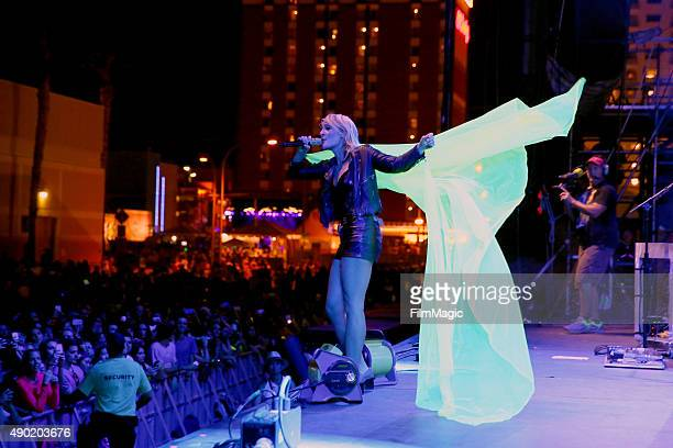Singer/songwriter Emily Haines of Metric performs onstage during day 2 of the 2015 Life is Beautiful festival on September 26 2015 in Las Vegas Nevada