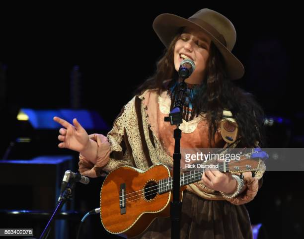 Singer/Songwriter EmiSunshine performs during Dr Ralph Stanley Forever A Special Tribute Concert at Grand Ole Opry House on October 19 2017 in...