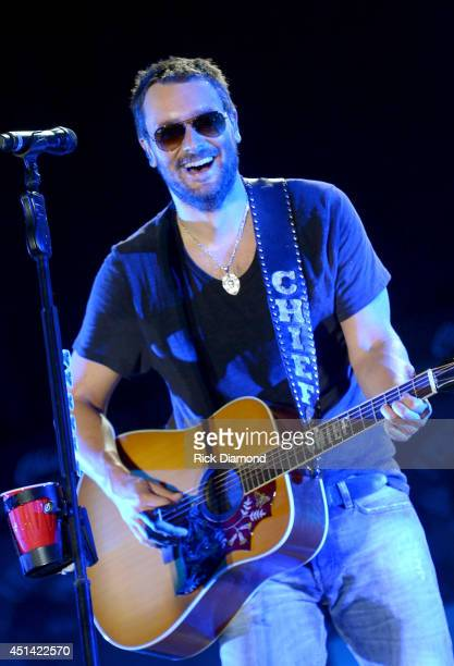 Singer/Songwriter Eric Church performs during Kicker Country Stampede at Tuttle Creek State Park on June 28 2014 in Manhattan Kansas