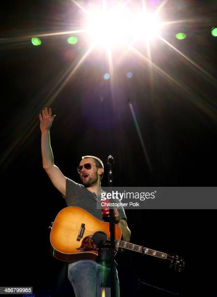 Singer/songwriter Eric Church performs onstage during day 1 of 2014 Stagecoach California's Country Music Festival at the Empire Polo Club on April...