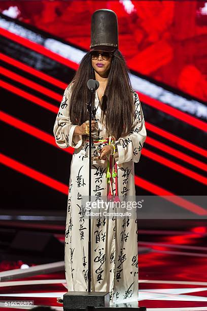 Singersongwriter Erykah Badu speaks onstage BET Black Girls Rock 2016 at New Jersey Performing Arts Center on April 1 2016 in Newark New Jersey