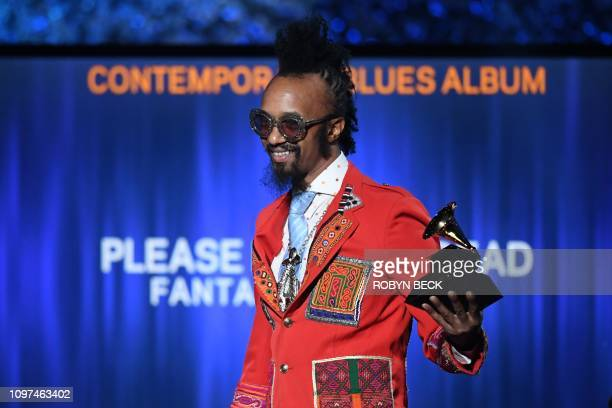 US singersongwriter Fantastic Negrito accepts the award for Best Contemporary Blues Album for 'Please Don't Be Dead' onstage during the 61st Annual...