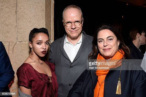 Singersongwriter FKA Twigs artistic director HansUlrich Obrist and founder of th LUMA Foundation Maja Hoffman attend the LA Dance Annual Gala at The...