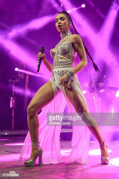 Singersongwriter FKA Twigs performs during the Coachella Valley Music and Arts Festival at The Empire Polo Club on April 18 2015 in Indio California