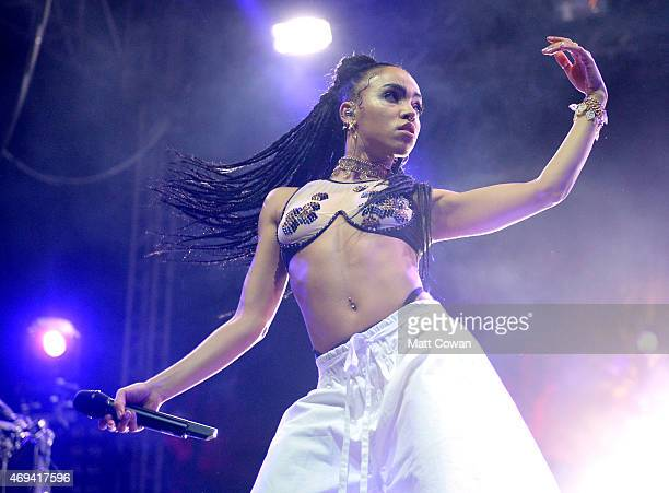 Singersongwriter FKA Twigs performs onstage during day 2 of the 2015 Coachella Valley Music Arts Festival at the Empire Polo Club on April 11 2015 in...