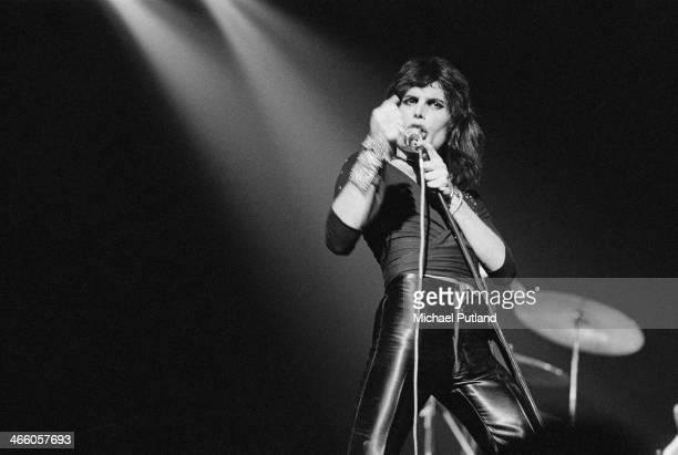 Singer-songwriter Freddie Mercury performing with British rock group Queen, 1974.