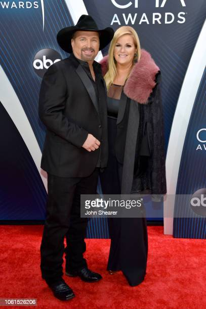 Singersongwriter Garth Brooks and singer Trisha Yearwood attend the 52nd annual CMA Awards at the Bridgestone Arena on November 14 2018 in Nashville...