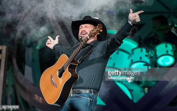 Singersongwriter Garth Brooks performs during The Garth Brooks World Tour with Trisha Yearwood at Wells Fargo Center on March 24 2017 in Philadelphia...