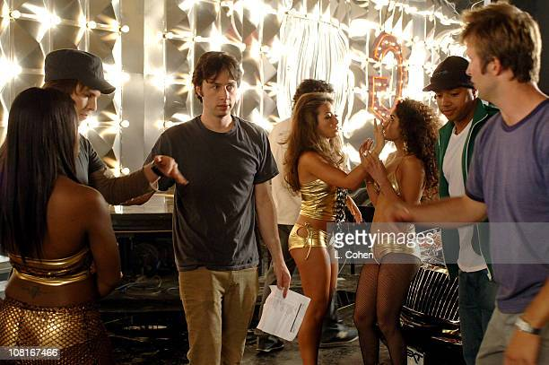 Singer/Songwriter Gavin DeGraw with video director Zach Braff and Donald Faison on the set of the video for Chariot the title track from DeGraw's...