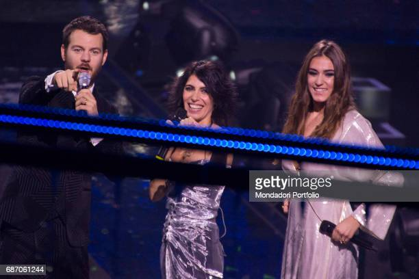 Singersongwriter Giorgia singer Gaia Gozzi and TV host Alessandro Cattelan at the final live show of series 10 of X Factor at Mediolanum Forum of...