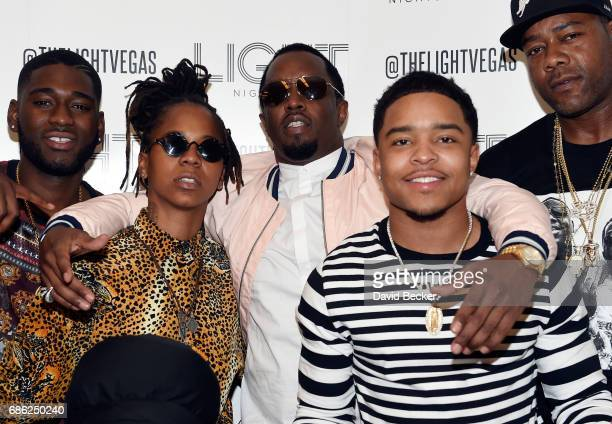Singer/songwriter Gizzle and recording artist Sean Diddy Combs aka Puff Daddy and Jessie James Combs attend the Light Nightclub at the Mandalay Bay...