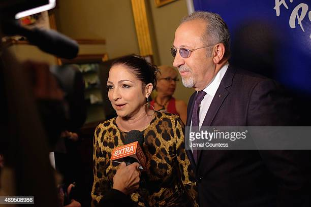 Singer/songwriter Gloria Estefan and musician Emilio Estefan attend An American In Paris Broadway opening night at Palace Theatre on April 12 2015 in...