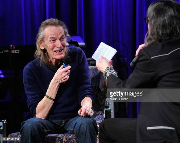 Singer/songwriter Gordan Lightfoot and Vice President of the GRAMMY Foundation Scott Goldman onstage during an evening with Gordon Lightfoot at The...