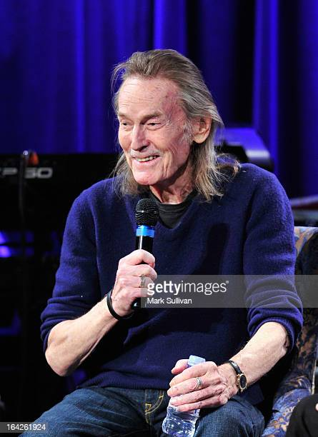 Singer/songwriter Gordan Lightfoot onstage during an evening with Gordon Lightfoot at The GRAMMY Museum on March 21 2013 in Los Angeles California