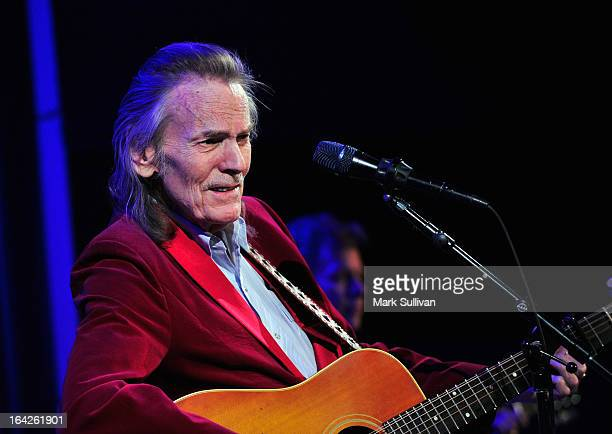 Singer/songwriter Gordan Lightfoot performs during an evening with Gordon Lightfoot at The GRAMMY Museum on March 21 2013 in Los Angeles California