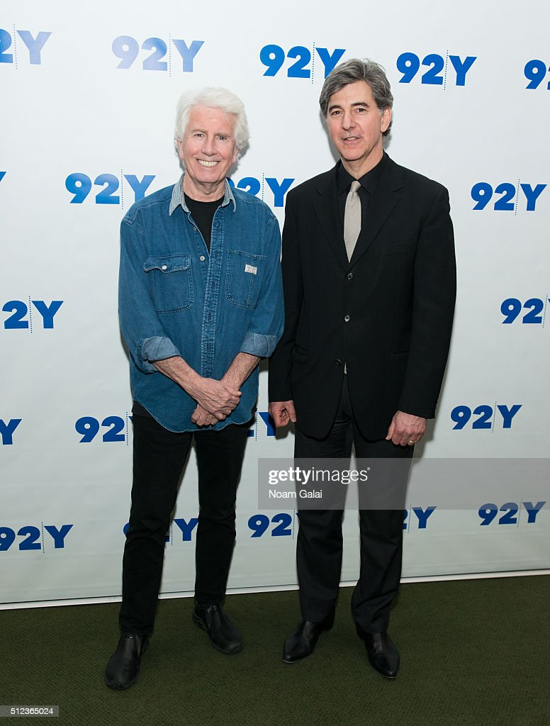 Singer-songwriter Graham Nash and TV personality Budd Mishkin visit 92Y on February 25, 2016 in New York City.