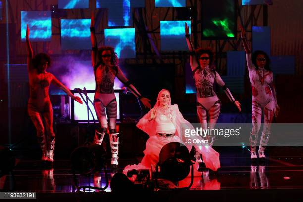 Singer/songwriter Grimes performs onstage during The Game Awards 2019 at Microsoft Theater on December 12 2019 in Los Angeles California