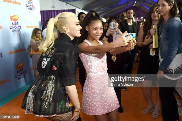 Singersongwriter Gwen Stefani and actor Kyla Drew Simmons at Nickelodeon's 2017 Kids' Choice Awards at USC Galen Center on March 11 2017 in Los...