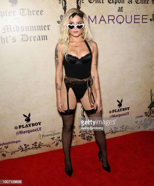 Singer/songwriter Halsey arrives at Playboy's Midsummer Night's Dream at the Marquee Nightclub at The Cosmopolitan of Las Vegas on July 29 2018 in...