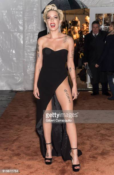 Singersongwriter Halsey is seen arriving to the 2018 amfAR Gala New York at Cipriani Wall Street on February 7 2018 in New York City