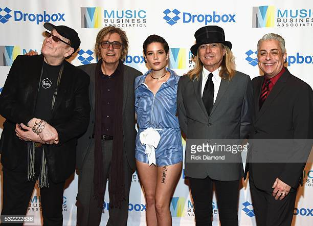 Singer/Songwriter Halsey joins Cheap Trick's Rick Nielsen Tom Petersson Robin Zander and Music Biz President James Donio during Music Biz 2016 Day 4...