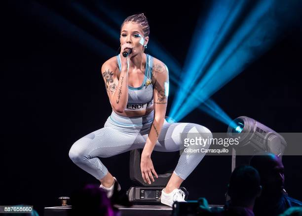 Singersongwriter Halsey performs onstage during Q102's Jingle Ball 2017 Presented by Capital One at Wells Fargo Center on December 6 2017 in...